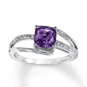 Amethyst Ring Diamond Accents - Sterling Silver